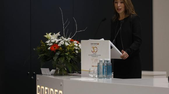 Image of the Secretary of State for Trade, Xiana Méndez; during the 30th Anniversary of COFIDES