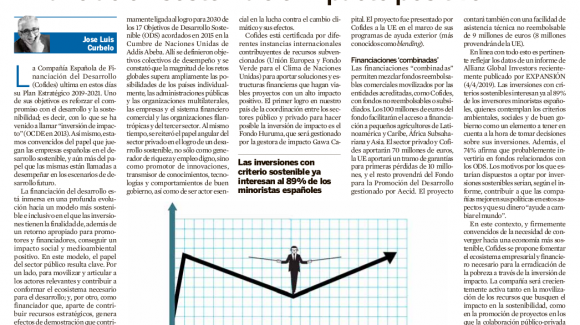 Image of the article by José Luis Curbelo, President of COFIDES, entitled 'Sustainable financing and positive impact'